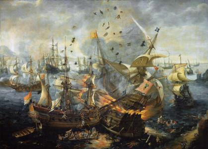 Картина «Гибралтарская битва», 25 апреля 1607 года, эпизод «Восьмидесятилетней войны» с Голландией